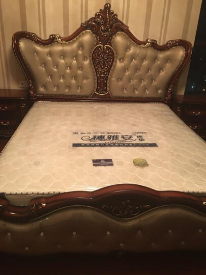 古梵(GUFAN)欧式床真皮床法式公主单双人 高档奢华宫廷卧室家具1.8米 真皮床+妆台+妆凳 宝石红描金(主图1) 晒单图