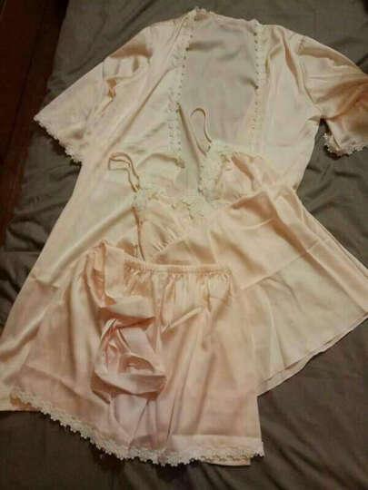 俏薇妮睡衣女士夏季仿真丝性感三件套短袖吊带睡裙套装家居服 5594静默灰(三件套) L(女) 晒单图