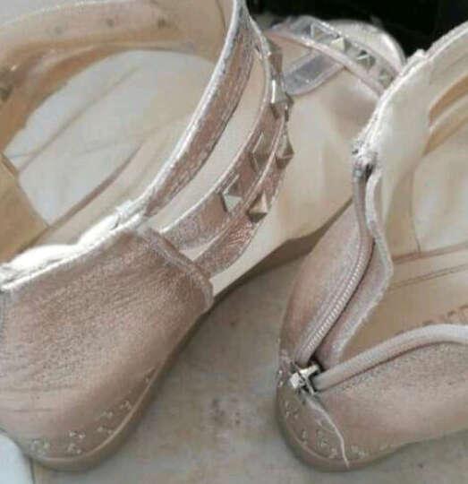 马登凯瑟琳凉鞋2018夏季新款高跟性感透气鱼嘴坡跟搭扣女凉鞋 金色 40 晒单图