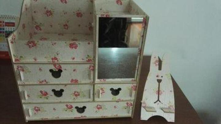 大号木质木制桌面整理收纳盒抽屉 带镜子化妆品梳妆盒收纳箱包邮 慕斯娃娃带镜子-4抽屉 晒单图