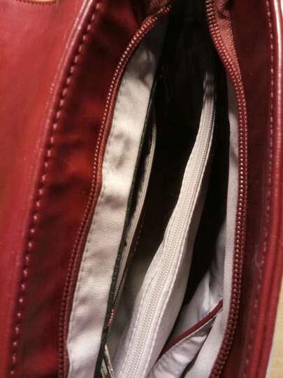 稻草人Mexican欧美时尚百搭定型邮差单肩斜挎女包MNK70006L-01酒红 晒单图