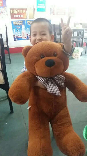大号毛绒熊爱心围巾泰迪熊公仔女朋友生日礼物女生送女友毛绒玩具熊 深棕蓝白毛衣丝带熊 2米 晒单图