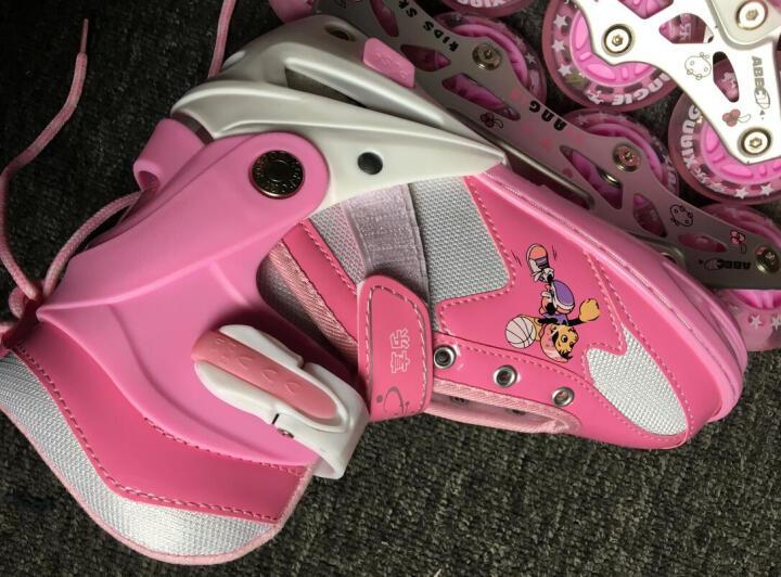 小状元享乐溜冰鞋儿童轮滑鞋全套装女童滑冰鞋小孩直排轮男宝宝旱冰鞋可调 红色丨套装(含护具头盔+包) S(实际27-32) 晒单图