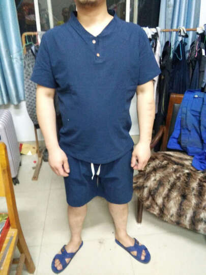 Mr.baidis 亚麻T恤男士2019新款中国风夏季棉麻短袖套装男装 A18白色 L【适合115-125斤】 晒单图
