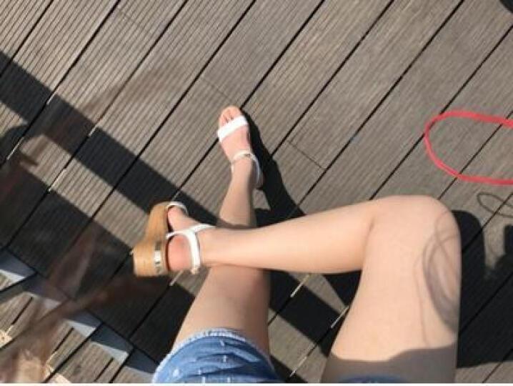 卓诗尼坡跟凉鞋女2019夏季新款高跟鞋露趾一字扣金属装饰修面女鞋 黑色 36 晒单图