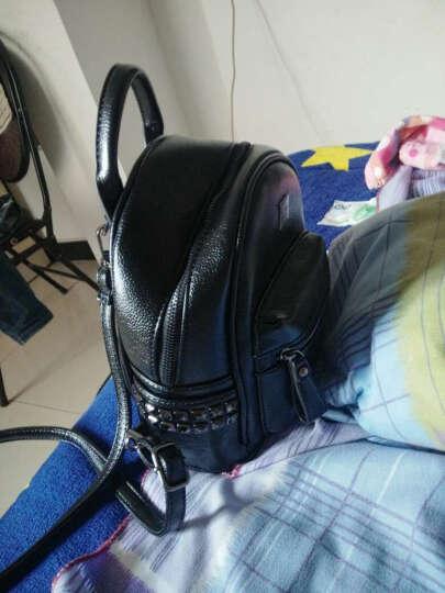 蒂杜(Dedoo)双肩包女新款女包韩版女士背包潮流学院风学生书包迷你旅行小包 银色 晒单图