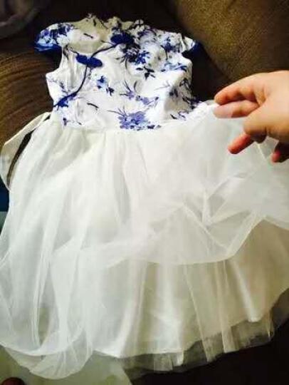 亲啵啵【下单69元】2017夏装新款女童连衣裙 中大儿童短袖裙子碎花舞蹈裙 青花瓷 140码(建议身高130厘米左右穿) 晒单图
