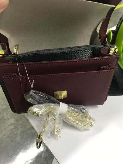 EUNI女包手提包链条金属搭扣单肩包羊皮纹斜跨包女士包包小方包 酒红E941001I1S 晒单图
