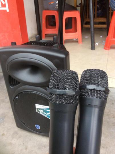 双诺 声美HJ-608 12英寸低音电瓶广场舞拉杆音箱 双无线麦克风户外移动音响 便携式大功率扩音器 黑色 晒单图