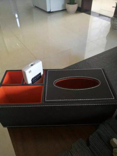 百联臣欧式纸巾盒抽纸盒皮革多功能桌面手机遥控器收纳盒客厅 长方形红编织多功能纸巾盒 晒单图