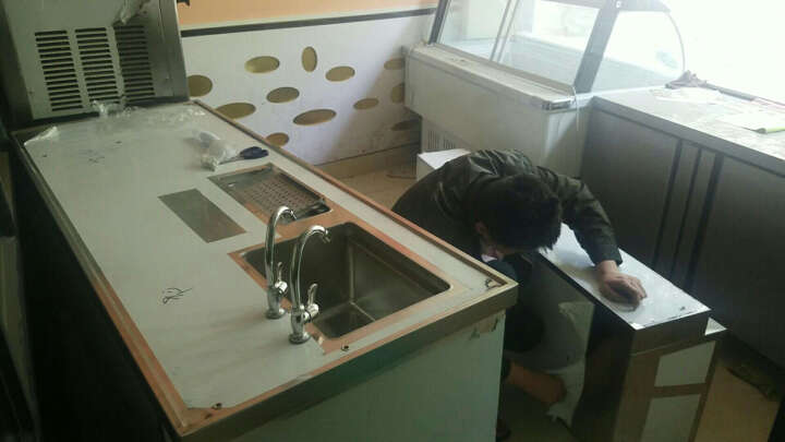 乐创(lecon)冰柜商用冷柜冰吧 奶茶店设备 咖啡设备 烘焙设备工作台水吧台操作台 2.0米长可定造冷藏/冰槽/水池 晒单图