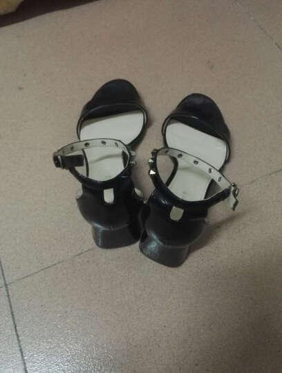 达芙妮品牌粗中高跟凉鞋女夏季新品女鞋铆钉方跟 浅蓝色(鞋码偏大,建议拍小一码) 39 晒单图