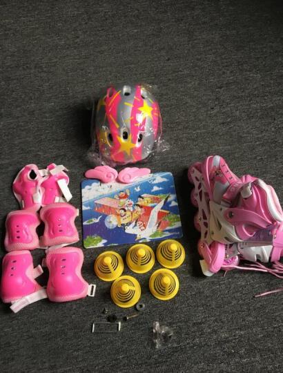 享乐(XIANGLE) 享乐溜冰鞋儿童轮滑鞋全套装女童滑冰鞋小孩直排轮男宝宝旱冰鞋可调 红色丨套装(含护具头盔+包) S(实际27-32) 晒单图