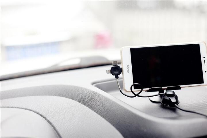 LEBOSH  车载手机支架 纳米无磁性汽车手机支架 多功能车充充电导航支架手机座 黑色 晒单图