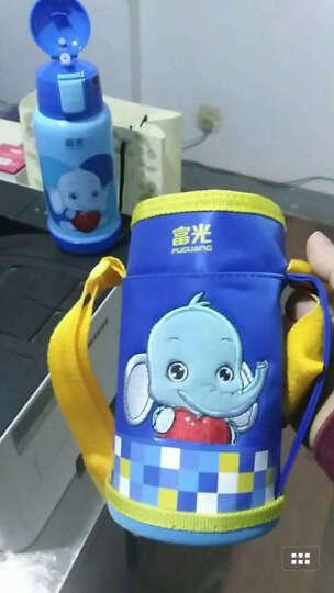 富光保温杯 儿童水杯吸管杯男女宝宝小孩水壶婴儿学生茶水杯子可爱便携防漏刻字一杯双盖送杯套 蓝色(小象宝宝) 晒单图