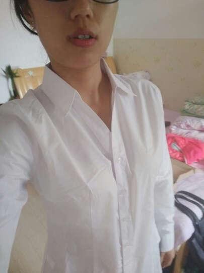 广服 职业衬衫女加绒2018装新款OL女士修身白色v领韩版正装纯色打底衬衣短袖 白色长袖-无绒(纯棉)0423 180/3XL 晒单图