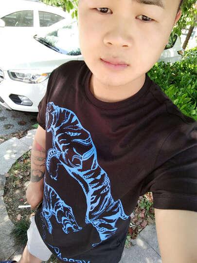 VERSACE JEANS 范思哲 男士 黑色棉质老虎图案短袖T恤 B3GOA764 36598 899 L码 晒单图