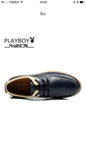花花公子(PLAYBOY)新款男鞋 男士加绒韩版运动休闲鞋男棉鞋透气皮鞋潮流板鞋男 深蓝色 42 晒单图