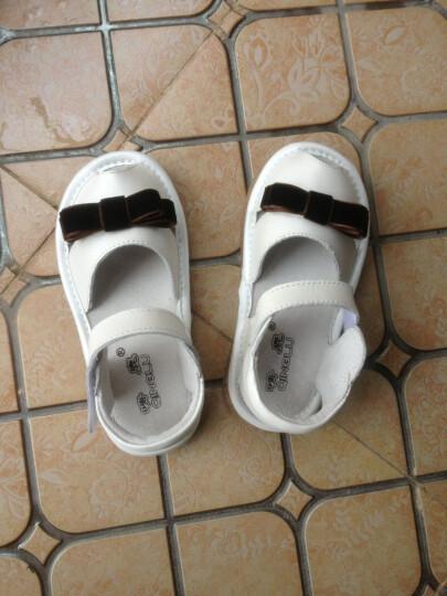 晴鹿 头层牛皮宝宝凉鞋软皮软底小童鞋1-3岁男女童儿童夏 鱼嘴包头学步鞋21-25码 白色8001 24码/内长14.7cm 晒单图