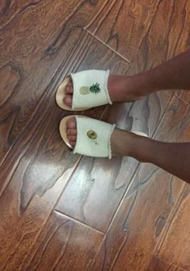Love98 拖鞋女夏季外穿 新款韩版帆布时尚流苏绣花菠萝休闲风平底凉拖鞋女 米白色 39 晒单图