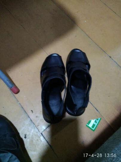 梓玲夏季黑色高帮鱼嘴中年凉皮鞋女真皮软底平跟凉鞋平底防滑妈妈凉鞋 黑色 38 晒单图