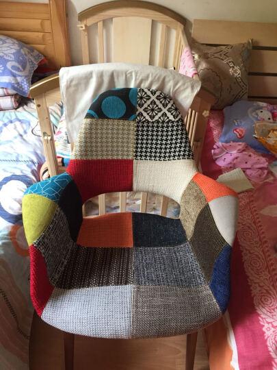 美达克布艺餐椅子现代简约曲木餐桌椅麻布靠背椅餐厅咖啡椅 白色 晒单图