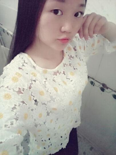 蓝月芊魅夏装韩版宽松雏菊花朵镂空拼接蕾丝衫罩衫上衣AC31-7 米白色 S 晒单图