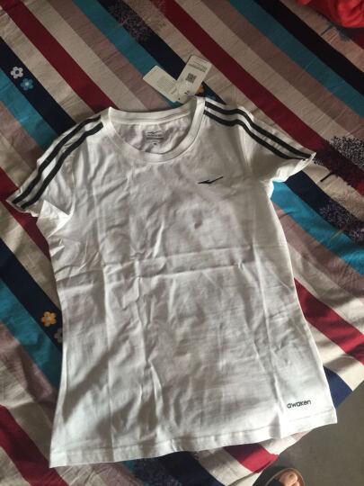 鸿星尔克erke夏季新款女圆领短袖针织衫修身短袖纯色运动T恤 正白 L 晒单图