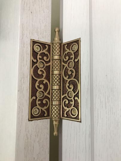老铜匠 仿古铜质合页欧式静音花板轴承铜合页 4寸加厚 MH400801 玫瑰金色 晒单图