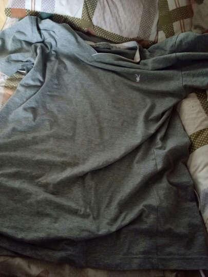 花花公子短袖T恤男V领2017夏季新款纯色棉打底衫 1916灰色 XL 晒单图