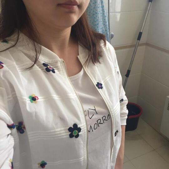 羽樱 2018夏季新款韩版修身五分袖雪纺防晒衣女短款防晒服开衫薄外套空调衫 花朵 M 晒单图
