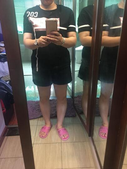 COCOBELLA 春夏2017欧美范宽松短袖烫金涂层女字母潮T恤TE166 黑色 L 晒单图