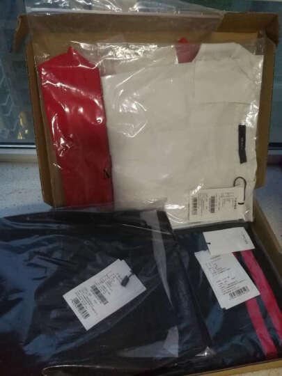 MOCO个性绑带束腰显瘦V字领字母短袖T恤女MA172TEE211 烈焰红色 M 晒单图