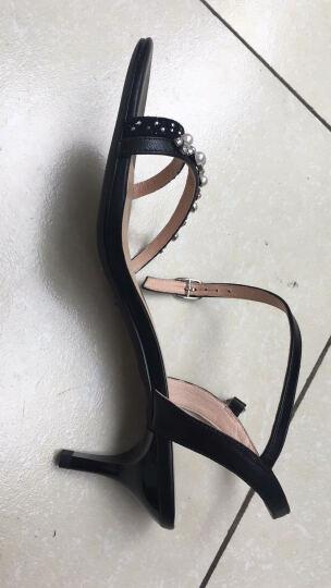 C.BANNER/千百度2017夏季新品羊皮细条带雅致高跟女凉鞋A7312511 黑色 39 晒单图