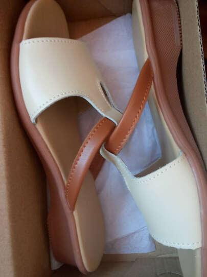 2017夏拖鞋女一字拖凉鞋坡跟真皮平底大码妈妈鞋时尚凉拖鞋女外穿4142-43 1605米色 37 晒单图