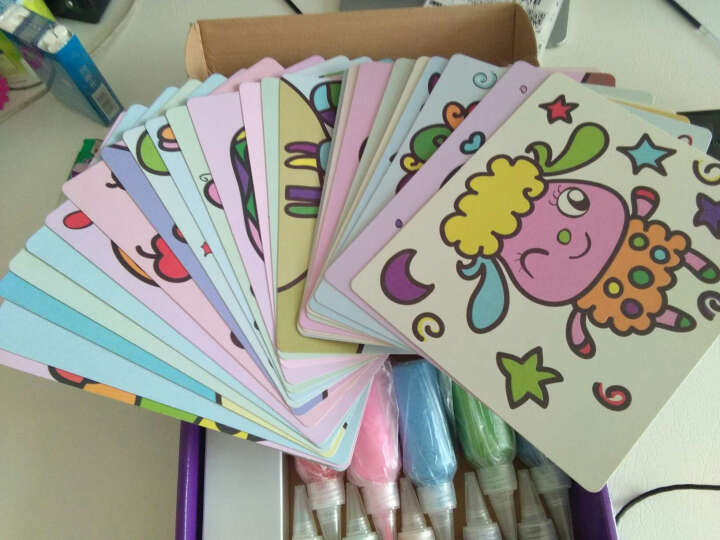 儿童沙画套装 宝宝手工制作DIY刮画胶画幼儿彩砂绘画玩具26张图案 梦幻卡通26幅图 晒单图