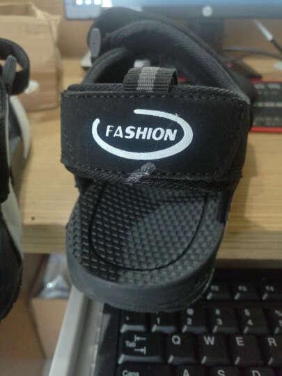 策尊青少年越南鞋皮凉鞋男户外沙滩鞋夏季韩版休闲拖鞋 黑白 42 晒单图