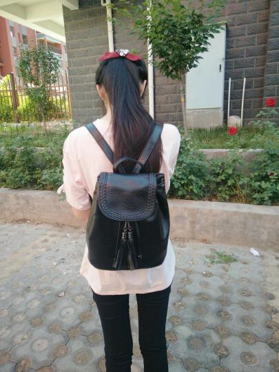 YGLS双肩包女新款女包韩版背包女包包潮流时尚学院风学生书包 炫酷黑 晒单图