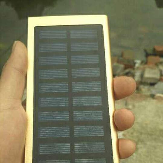 闪步50000M大容量移动电源超薄小巧太阳能充电宝OPPO苹果快充通用双向快充VIVO20000毫安 带太阳能(金色)+充电器 晒单图