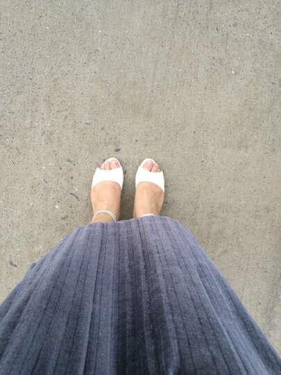 佑黛真皮凉鞋女夏季新款粗跟凉鞋女一字扣带水钻中跟鱼嘴鞋露趾百搭韩版大码女士罗马高跟女鞋 米白色 36 晒单图