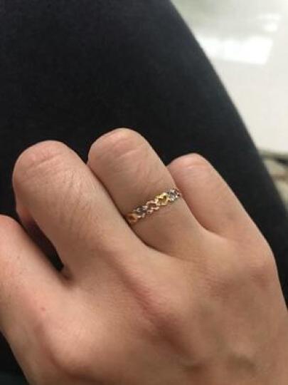 兆泰珠宝  K金戒指女 18K彩金三色心形女士正品个性指环 尾戒新品手饰送女友 C3011 11# 晒单图