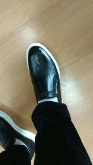 兽霸男鞋春秋季新品真皮商务休闲鞋软底豆豆鞋男英伦风鳄鱼纹男士皮鞋子 蓝色W512670 39 晒单图