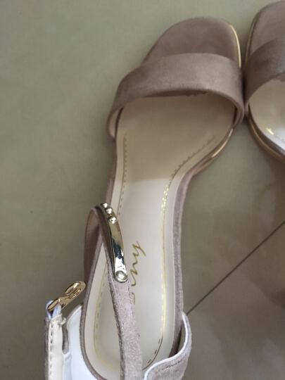 卓诗尼凉鞋女鞋夏季高跟鞋带粗跟浅口韩版露趾性感2017新款女鞋124716512 黑色 37 晒单图