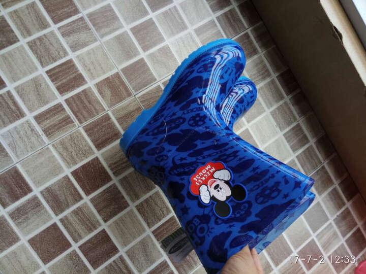迪士尼儿童雨鞋男童女童水鞋小孩学生雨靴秋冬季中大童防滑胶鞋 时尚米妮(棉) 31码/内长19cm 晒单图