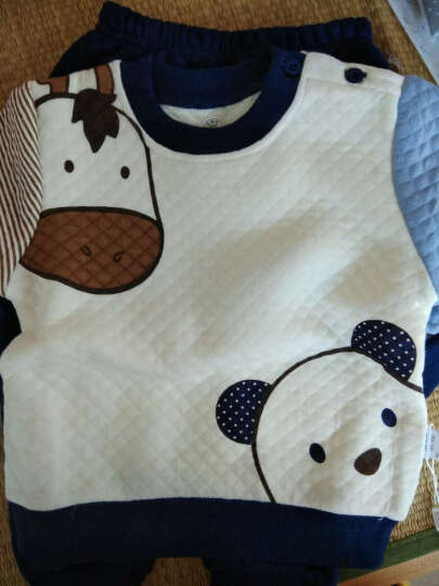 南极人(Nanjiren) 南极人宝宝春秋款夹棉套装婴儿衣服新款儿童卫衣套装 蘑菇娃娃-橙色 80cm 晒单图