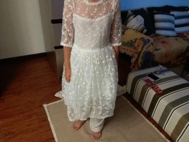 杜杜优童装女童裙子夏季新款中大童甜美可爱小女孩绣花纱纯白纱裙 白色 160码(建议身高150厘米 晒单图