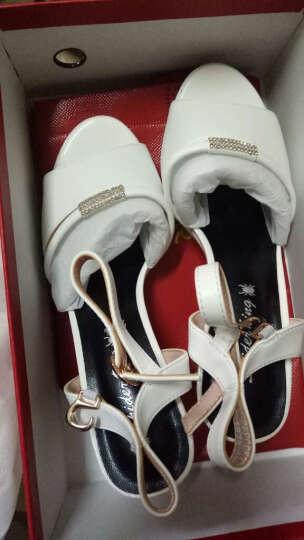 蜘蛛王女鞋一字带鱼嘴凉鞋粗跟高跟2018夏季新品舒适休闲韩版百搭露趾防滑女鞋23049 粉红色 37 晒单图