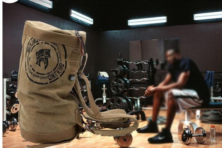 潮流健身包男短途旅行包行李包 休闲单肩手提双肩背包帆布包运动包训练包圆桶包 防水版军绿色中号健身包 晒单图