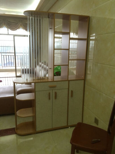 爱尚书亚门厅柜 简约现代酒柜超薄欧式鞋柜简易玄关柜客厅隔断柜 黄枫木色. 箱框结构 101*34*192.5 晒单图