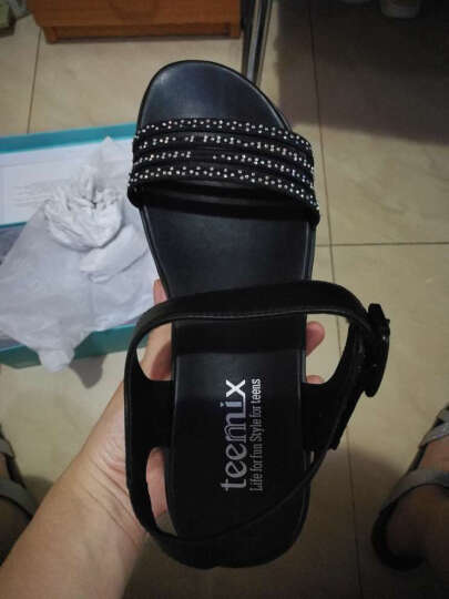 Teenmix/天美意夏平底凉鞋女牛皮厚底鱼嘴鞋专柜同款6ZA09BL6 黑色 38 晒单图